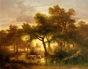 """Ausstellungsbild """"Waldlandschaft, im Vordergrund ein Sumpf"""""""