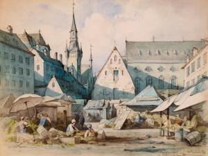"""Zeichnung """"Am Viktualienmarkt"""""""